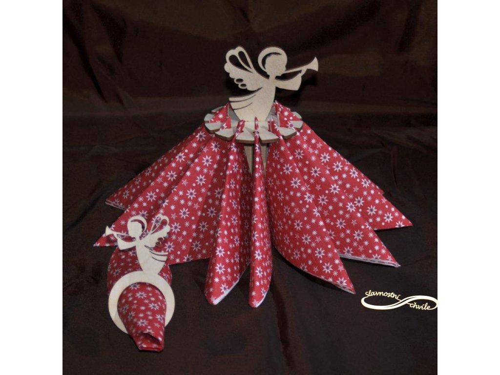Držák ubrousků s andílkem - Dekorace na vánoční stůl