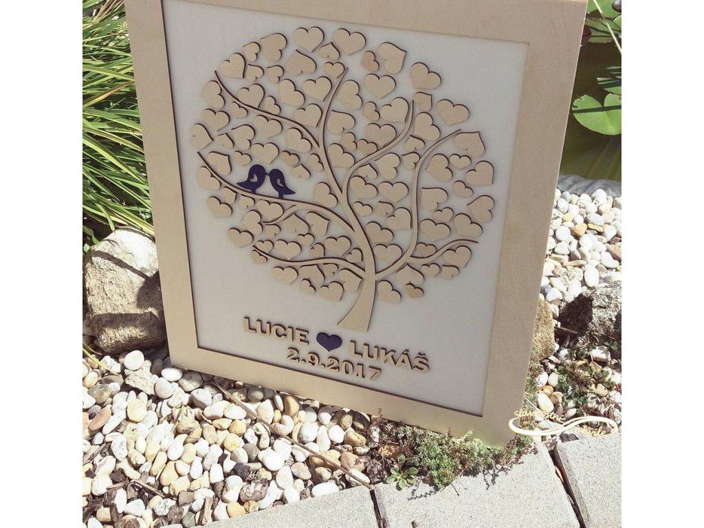 Svatební kniha - strom s ptáčky