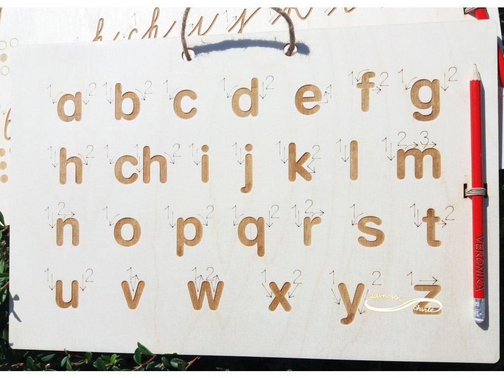 Tabulka pro nácvik psaní malých tiskacích písmen
