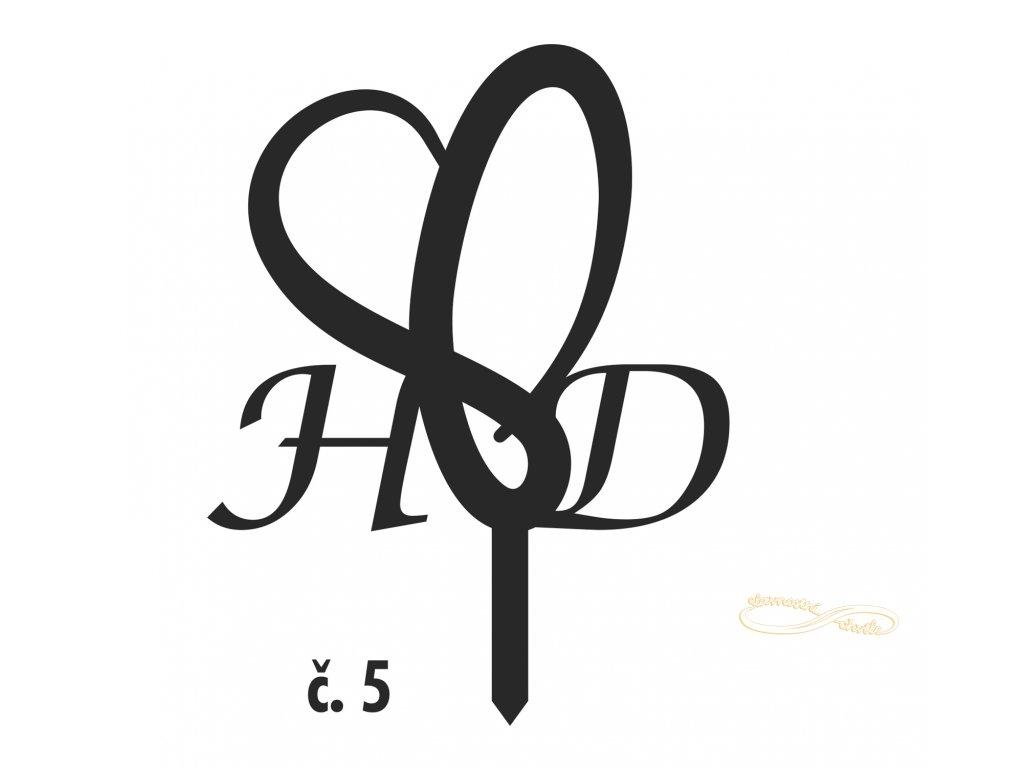 Dortová ozdoba srdce s iniciály