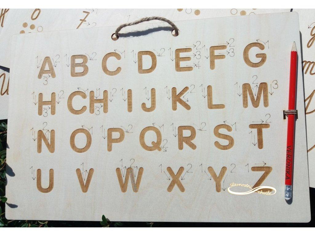 Tabulka pro nácvik psaní písmen - velká tiskací