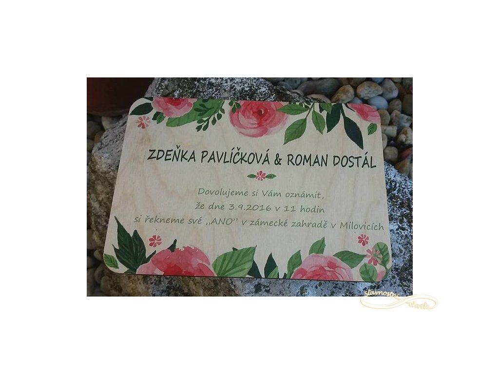 Svatební oznámení - dřevěné s digitálním potiskem na dřevě - vintage květiny