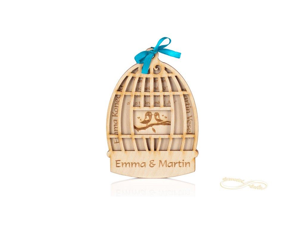 Svatební oznámení ve formě klece s ptáčky