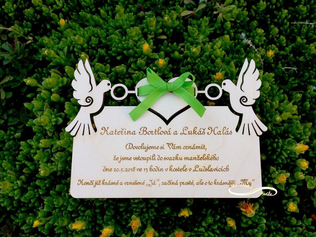 svatebni oznameni holoubci