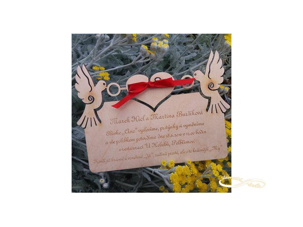 Svatební oznámení - holoubci