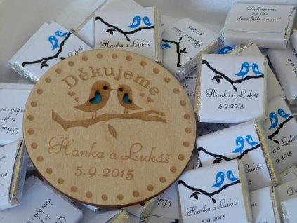 Svatební magnetka dřevěná ptáčci