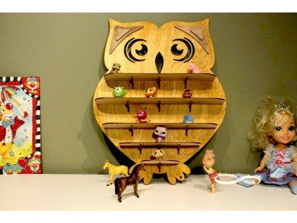 polička do dětského pokoje sova