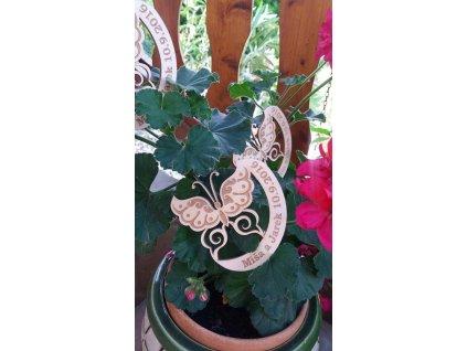 Svatební magnetka dřevěná motýl