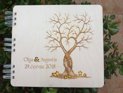 Dřevěná svatební kniha hostů - strom lásky