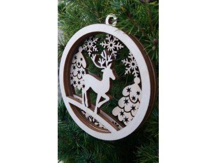 Dřevěná vánoční ozdoba s 3D efektem - motiv sněhulák