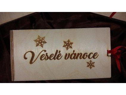 Dřevěná krabička pro darování peněz s motivem vločky