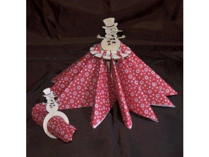 Držák ubrousků se sněhulákem - Dekorace na vánoční stůl