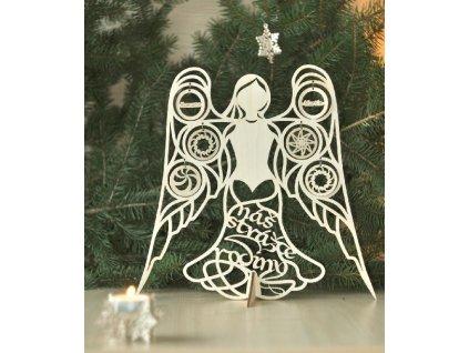 dřevěná vánoční dekorace - Anděl rodiny