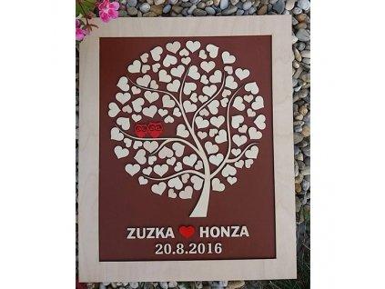 Svatební strom - verze se sovičkami