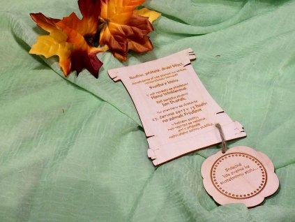 Svatební oznámení přírodní pergamen s pečetí