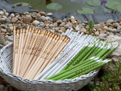 svatební tužka ženich a nevěsta - přírodní s hnědou gumou