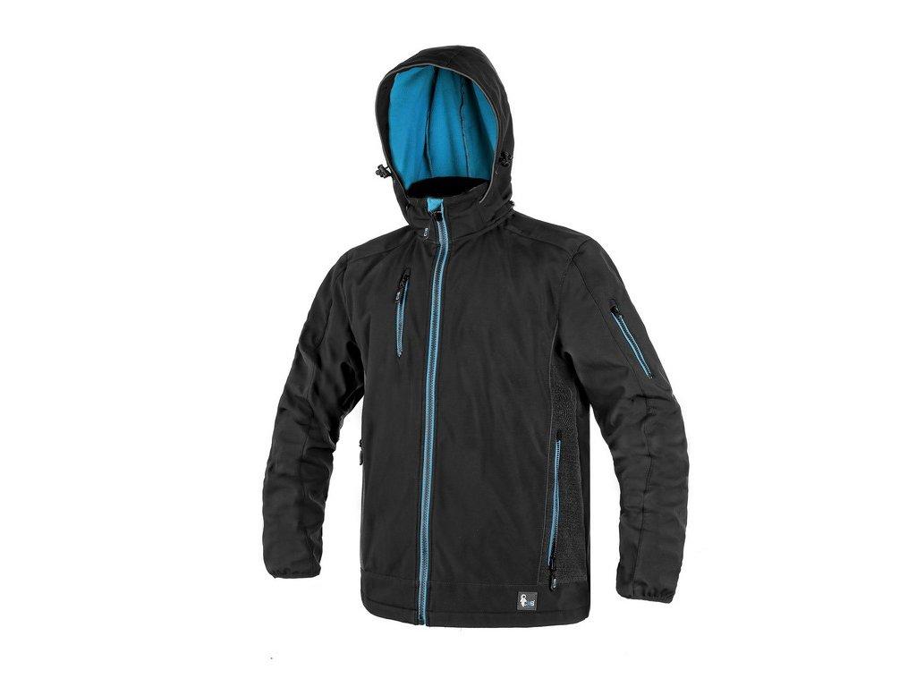 Pánská softshellová bunda CXS Durham - černá/modrá