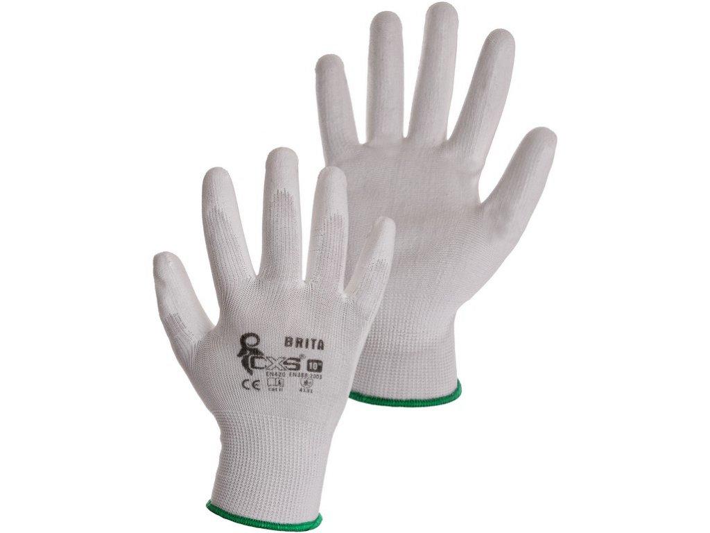 Pracovní povrstvené rukavice CXS Brita White