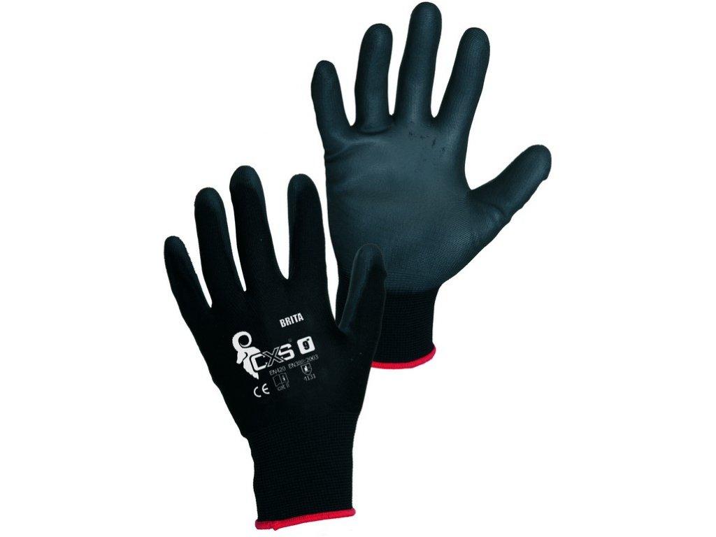 Pracovní povrstvené rukavice CXS Brita Black