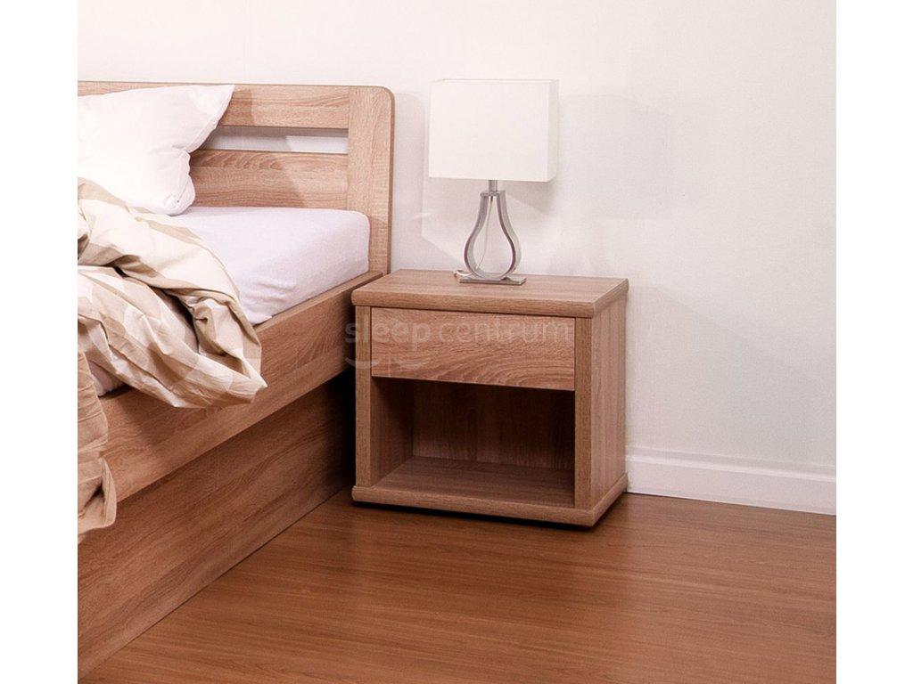 Noční stolek široký - buk (Moření Bílá, Provedení Průběžný buk)