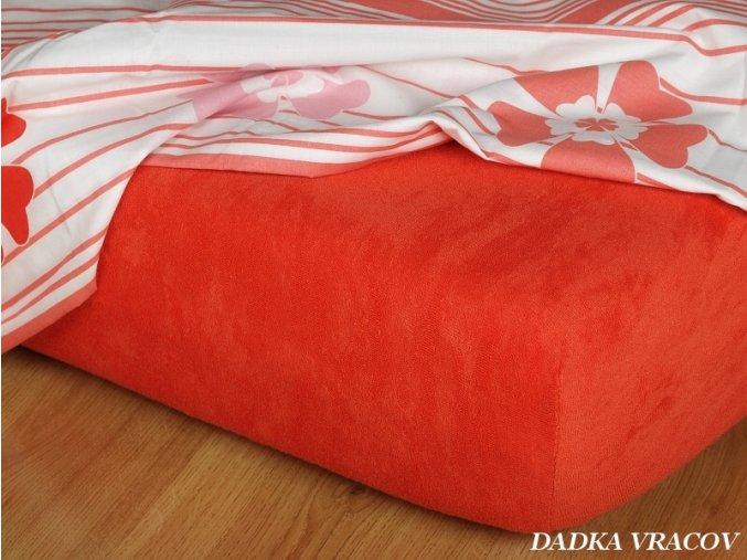 Prostěradlo jersey napínací - barva terakota
