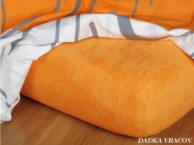 Prostěradlo froté napínací - barva pomeranč