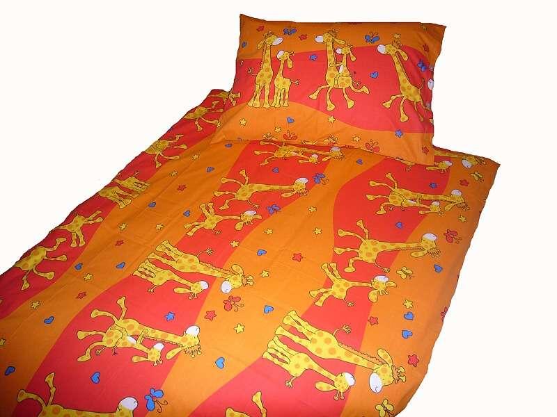Dětské krepové povlečení Žirafa - červená