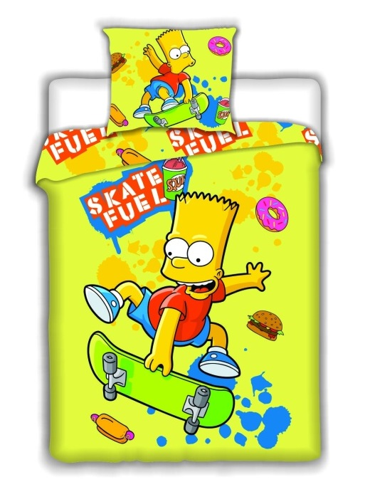 Dětské bavlněné povlečení Bart Skate Yellow