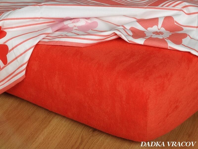 Prostěradlo jersey napínací - barva terakota Rozměr: 90 x 200 cm