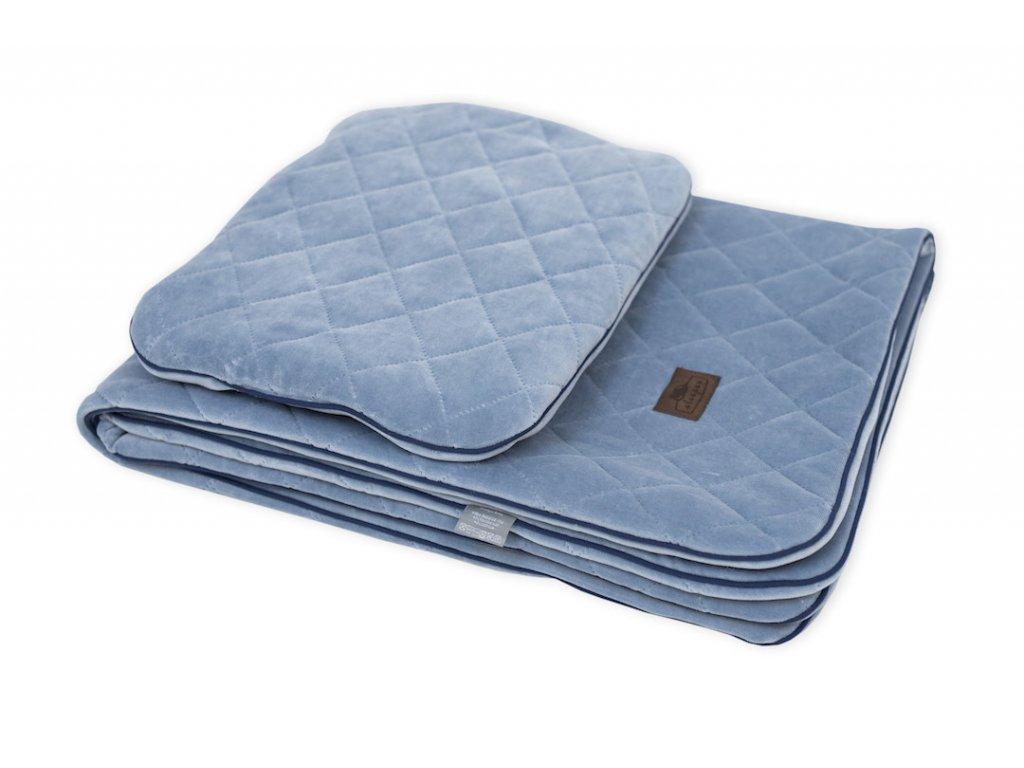 Sleepee Royal Baby Set modrý sametová deka + polštářek 1