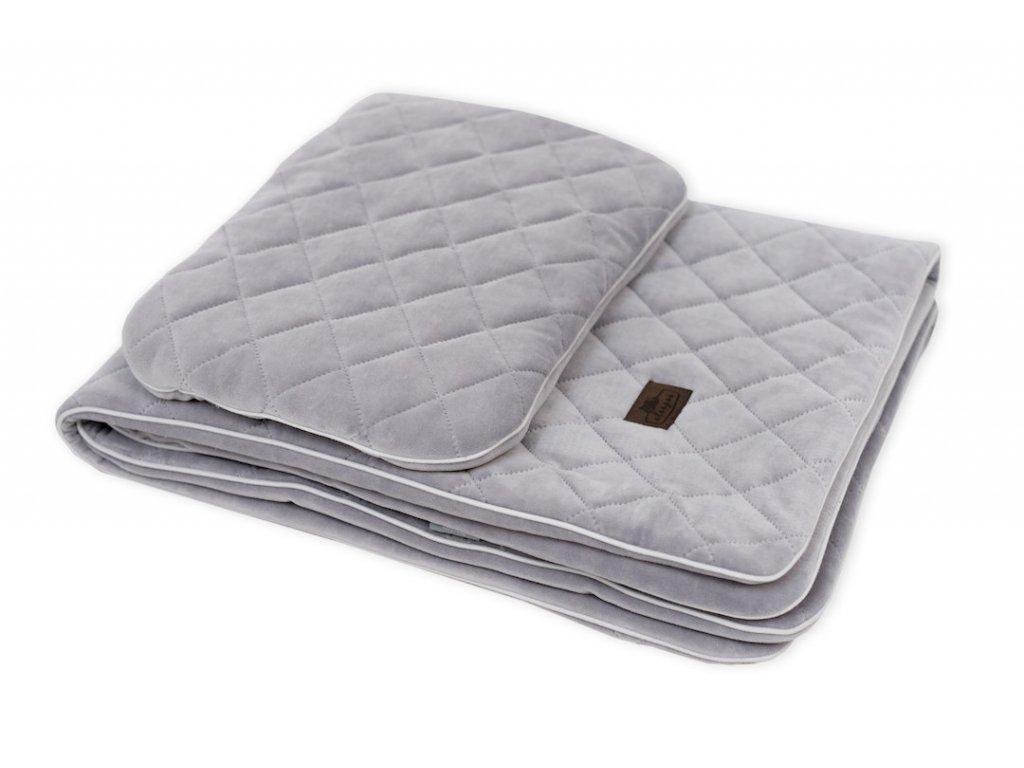 Sleepee Royal Baby Set šedý sametová deka + polštářek 1