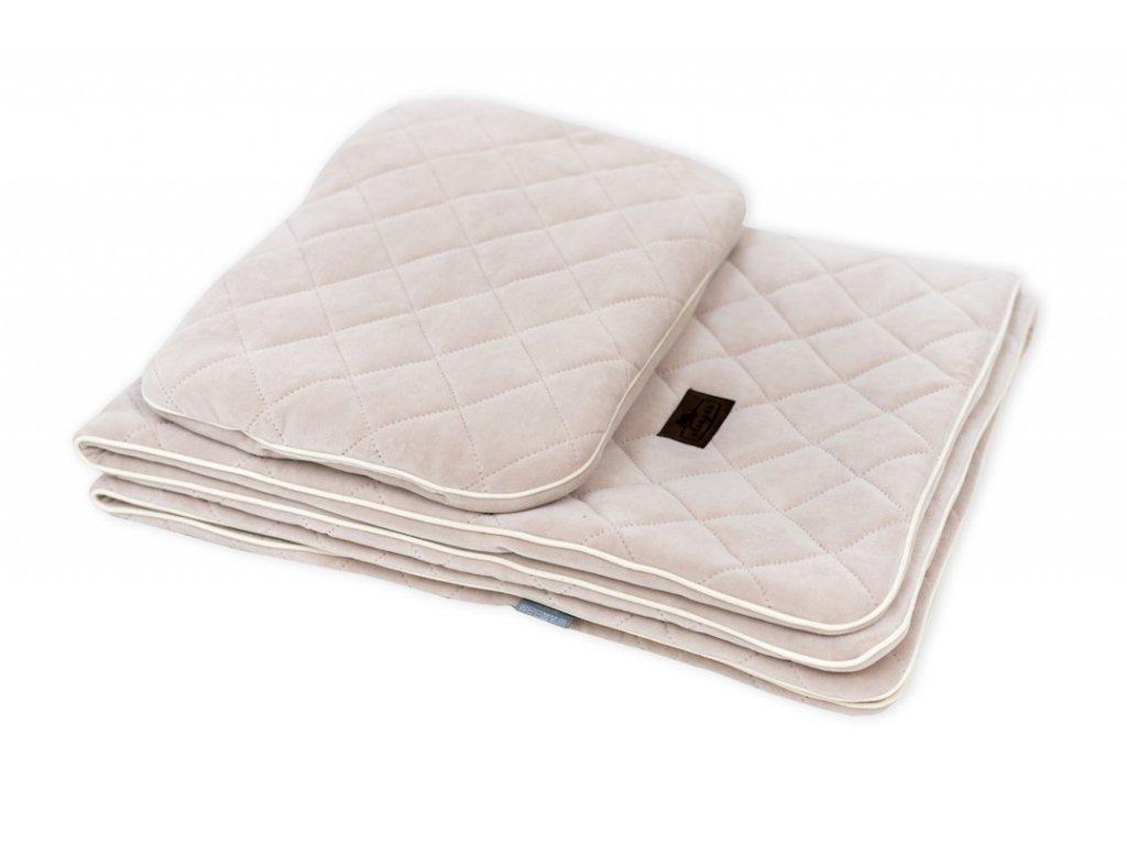 Sleepee Royal Baby Set pískový sametová deka + polštářek 1