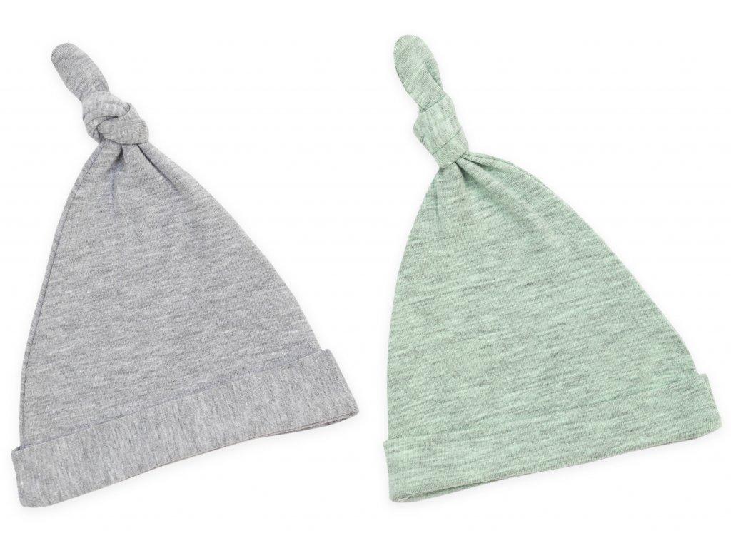 Dětské čepice 0 2 měsíce sada dvou kusů pastelová šedá:pastelová mintová 1