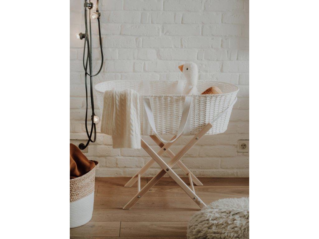 Ahojbaby Mojžíšův košík pro miminko Paper Dream white + matrace možnost stojanu