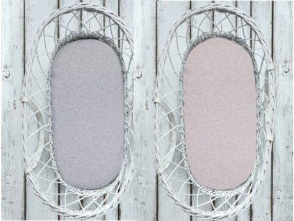 Sleepee Prostěradlo Sleepee We Care do košíku a kolébky oboustranné pastelová šedá/pastelová růžová