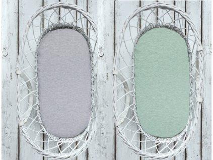 Sleepee Prostěradlo Sleepee We Care do košíku a kolébky oboustranné pastelová šedá/pastelová mintová