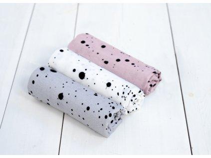 Mušelínové bambusové pleny Sleepee Hanky 3 ks šedá/bílá/růžová