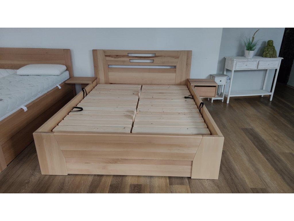 Dřevěná postel AMELIA s úložným prostorem