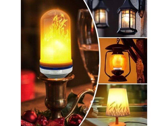 LED žárovka s efektem hořícího plamene