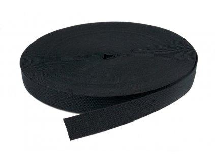 Popruh bavlna 20 mm černý