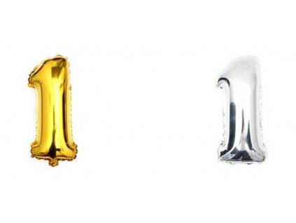 34868 nafukovaci balonek cislice 1 40cm stribrna zlata kx6813 1