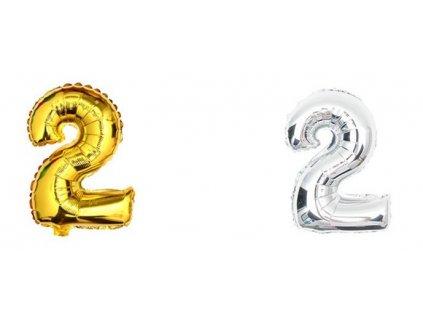 34871 nafukovaci balonek cislice 2 40cm stribrna zlata kx6813 2