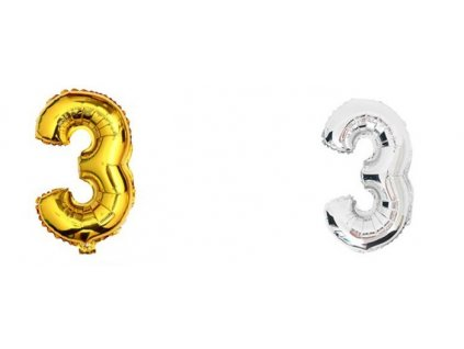 34859 nafukovaci balonek cislice 3 40cm stribrna kx6813 3