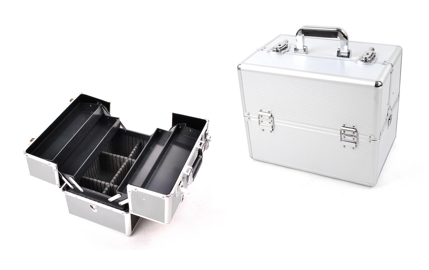 ISO Elegantní kosmetický kufřík 36x25x24 cm, stříbrná, 750