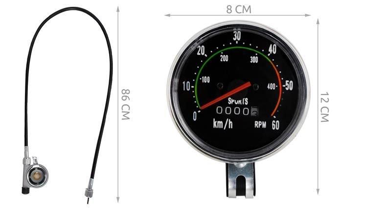 ISO Mechanický Retro tachometr pro jízdní kola, 5679