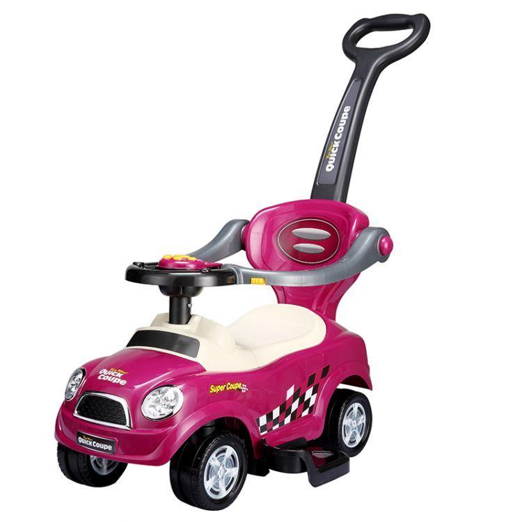 EcoToys Dětské odrážedlo se zvuky a vodící tyčí Auto 3v1 - fialové, 321