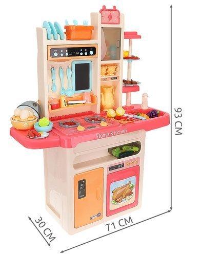 ISO Dětská kuchyňka XXL se zvuky a tekoucí vodou, růžová, 9572