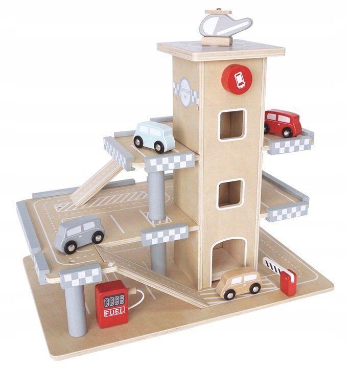 EcoToys Dřevěná parkovací garáž s výtahem a příslušenstvím, CA12104
