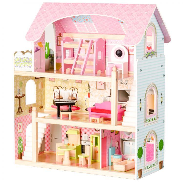 EcoToys Domeček pro panenky Pohádková rezidence s vybavením, ZA-4110