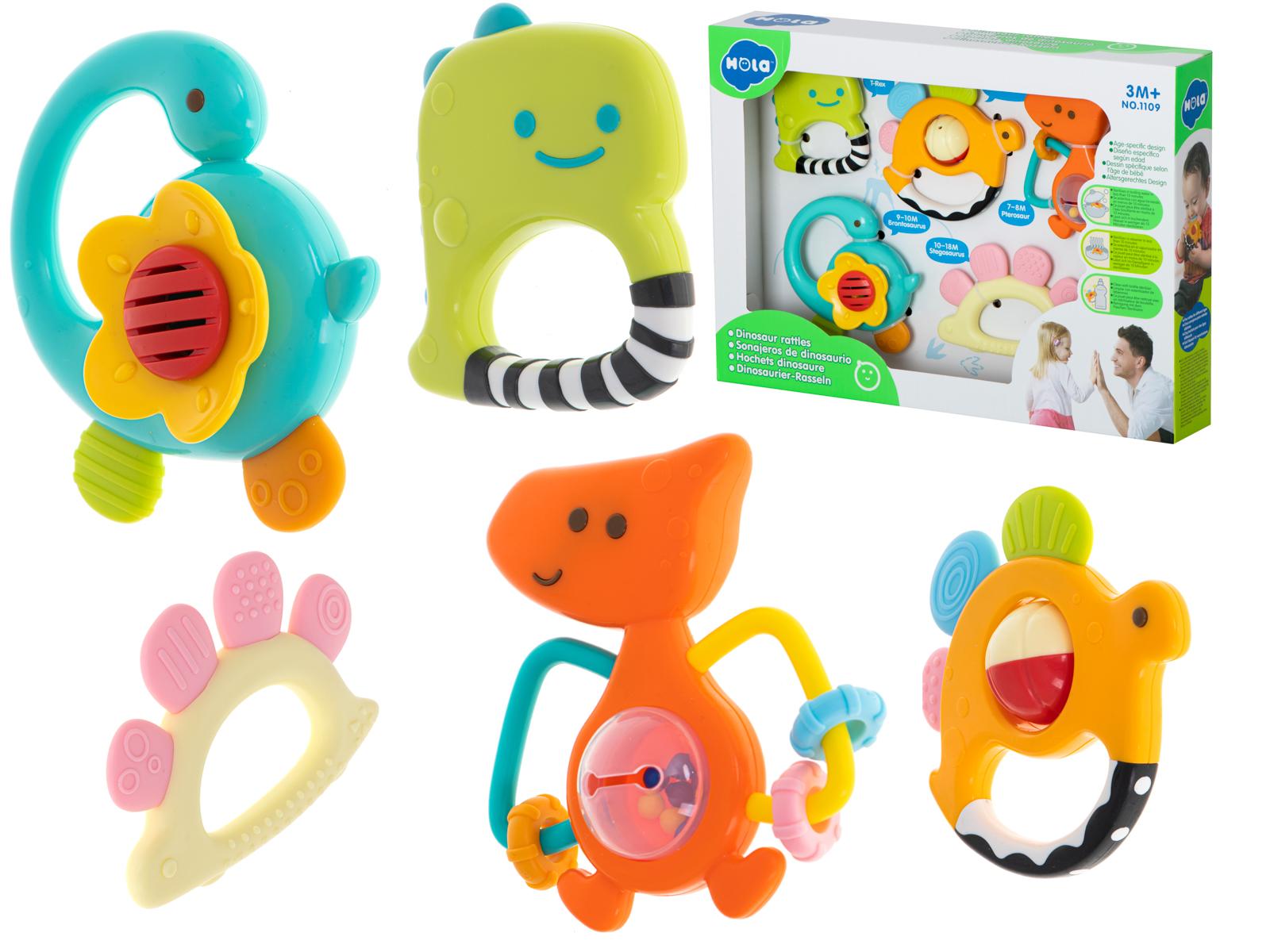 Huile Toys KIK KX5999 Sada chrastítek a kousátek pro miminka Dinosauři 5 ks